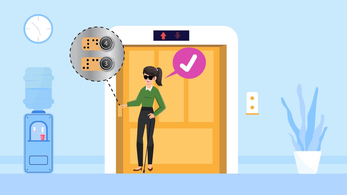El establecimiento de salud instaló texto en braille en las botoneras de los ascensores para que la persona pueda identificar los pisos y pueda trasladarse de forma autónoma.