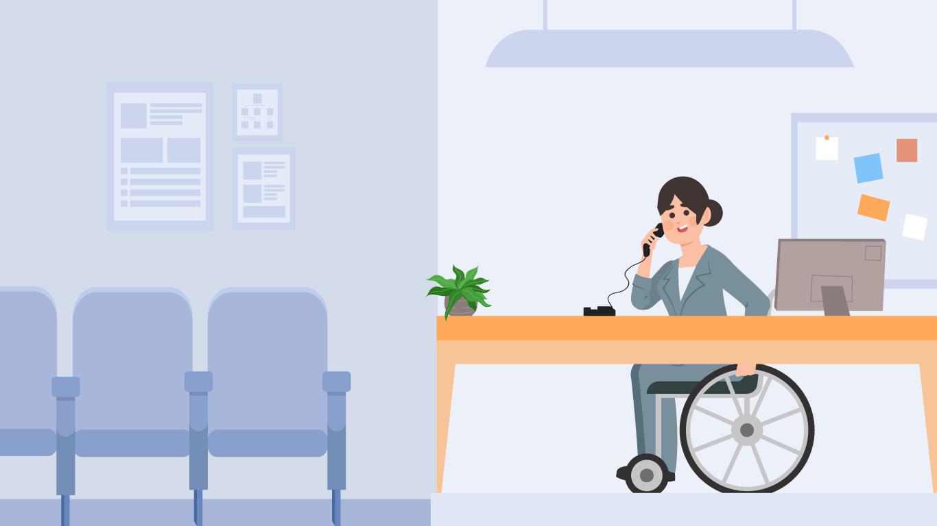 La empresa realizó modificaciones ampliando el espacio de trabajo de Sandra y adaptó el escrito para su mejor uso y movilización con la silla de ruedas.