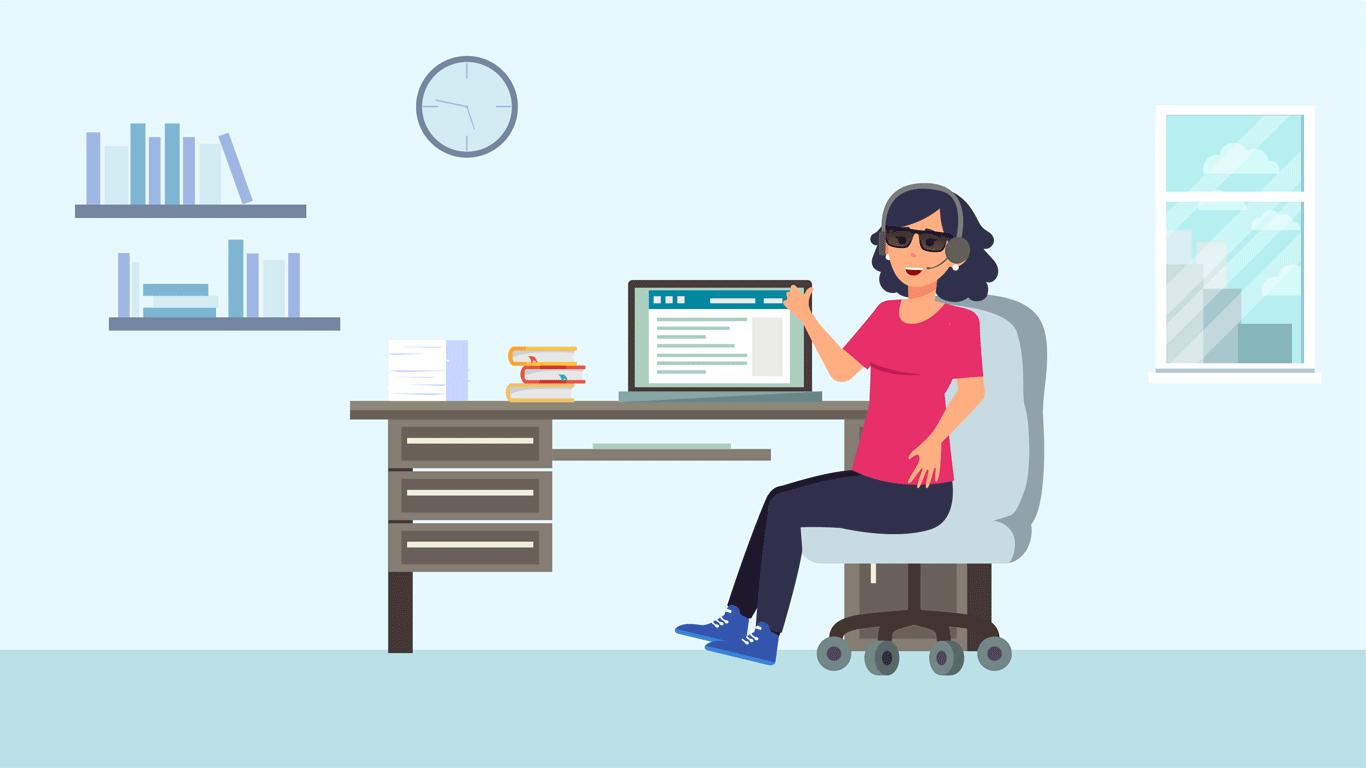 La biblioteca cambió a Sheyla a modalidad de trabajo remoto. Le otorgó un software de lectura de pantalla, implementó y le dio acceso a herramientas virtuales como audiolibros de textos en braille para que pueda desarrollar su trabajo de atención a usuarios con discapacidad visual.