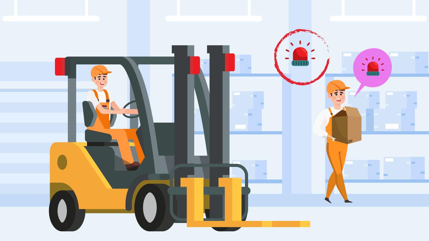 La fábrica implementa alarmas con señales de luz dentro de los espacios de trabajo para que Pedro pueda trasladarse con más seguridad.